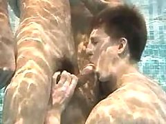 Some fellows doing oral-stimulation underside water