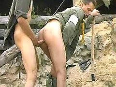 Tight anal banging with cumshot on war