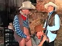 Youngster cowboys play blow job