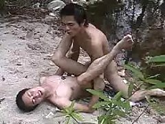 Neat Asian gays make banging in nature