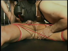 Gay guy leather and bondage fuck fest in 3 motion picture