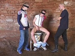 Sex fun with shackled and blindfold gay slave