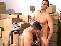 Young and horny loaders fucking hard in storehouse