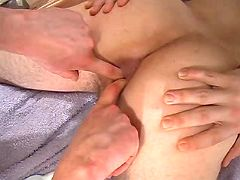 Dude gets his tight anus fingered and pumped