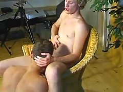 Blond gay guys do swallow job in studio