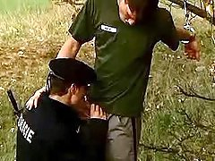 Policeman swallowing convict in nature