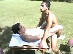 Young fella sucks and then rides his lover in park