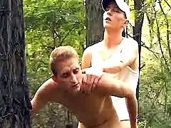 Curious men try anal sex in forest