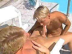 Boys having oral job fun on vacation