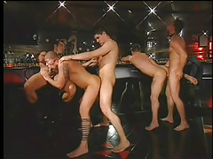 Gay club drinking party turns into immense jock gangbang in 4 movie scene