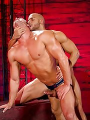In jock straps that accent the curves of their muscled asses, Ryan Rose and Sean Zevran explore each other's bodies with their hands and tongues.