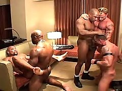 Muscle gay chaps enthusiastic fuck in group