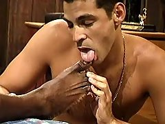 Darksome gay slut serving ache hunk