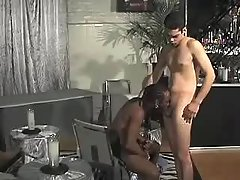 Black stud pounds hungry gay bitch