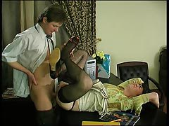 Spiteful gay sissy in lacy black stockings getting vast hard-on up his booty