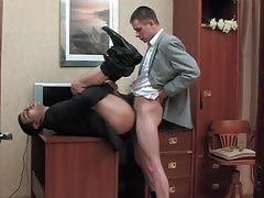 Pervy co-worker and his gay boss having cock-break after hard working day