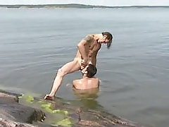 Gay throats hard cock in nature