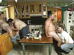 Chubby mature gays suck knobs on kitchen