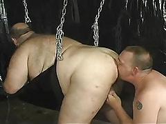 Mature gay licks fat men ass