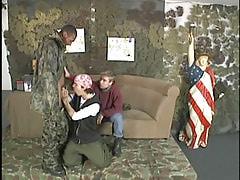 Black army boy spoils dualistic twinks