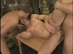 Hot military twink kissed and fucked by chaps