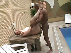 Poor guy drilled by black man-lover on table