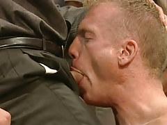 Gay stud deep throats hard cock