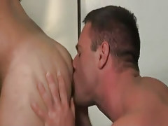 Mature gay licks bushy asshole on desk