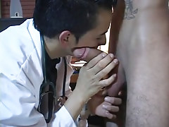 Gay latin doctor plays with hard dick
