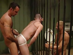 Two mature prisoners fuck guy by turns