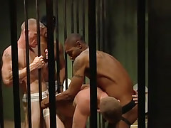 Ebony gays fuck white prisoners in all holes