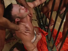 Gay dude sub jizzes in prison group