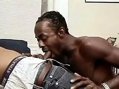 Wild black gay gets shoved heavily