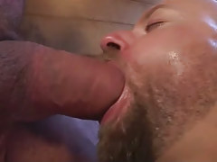 Lusty hairy dilf deep maws big pecker in shower