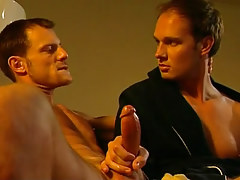Cute gay plays with hard rod on sofa