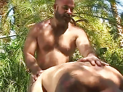 Old bear gay drills his boyfriend in nature