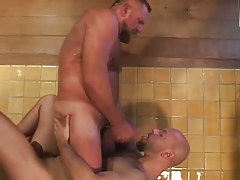 Bear gay swallows hot sperm in shower-room