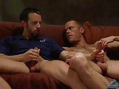 Horny bear gays jerk off on sofa