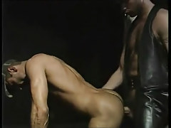 Hairy gay in leather drills sexy hunk
