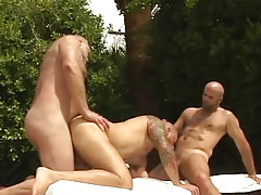 Lusty mature bears suck and fuck in team sex outdoor