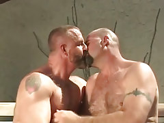 Mature bear gays take up with the tongue outdoor