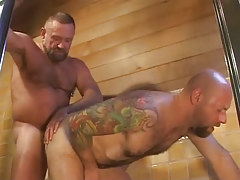 Old hairy gay fucks tight males anus