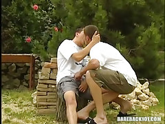 Lusty faggots kiss in nature