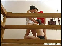 Sexually excited gay homosexual guys kiss and suck cocks in threesome