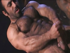 Hairy muscle gay cums in archeological dig