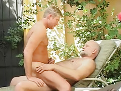 Horny man crazy jumps on old pecker of bear gay
