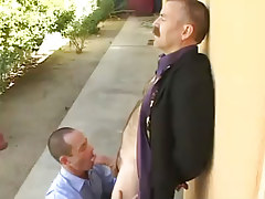 Bear mature homosexual sucked by horny dilf