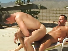 Lusty melodious man rides pecker of bear gay outdoor