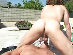 Mature gay fucks greedy mouth of hairy man outdoor