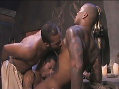 Ebony tattooed gay sucked by eastern studs in group